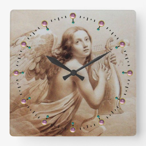 ANGEL PLAYING LYRA OVER THE CLOUDS Sepia Brown Square Wallclocks
