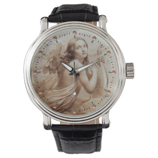 ANGEL PLAYING LYRA OVER THE CLOUDS WRIST WATCH