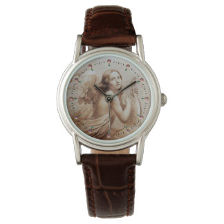 ANGEL PLAYING LYRA OVER THE CLOUDS WRISTWATCHES