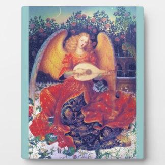 Angel playing mandolin plaque