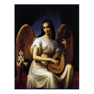 Angel Playing mandolina Music Antique Painting Postcard
