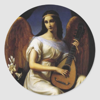 Angel Playing mandolina Music Antique Painting Round Stickers