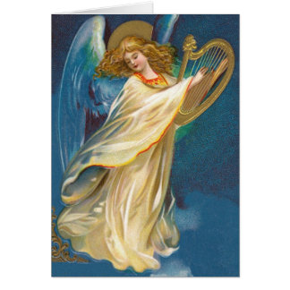 Angel Playing Music On A Harp Greeting Cards