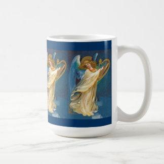 Angel Playing Music On A Harp Classic White Coffee Mug