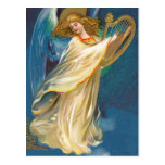 Angel Playing Music On A Harp Postcards