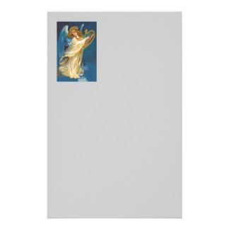 Angel Playing Music On A Harp Stationery