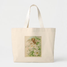 Angel Playing Violin In A Lily Garden Large Tote Bag at Zazzle
