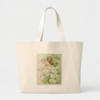 Angel Playing Violin In A Lily Garden Large Tote Bag