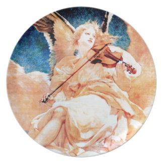 Angel Playing Violin painting Melamine Plate