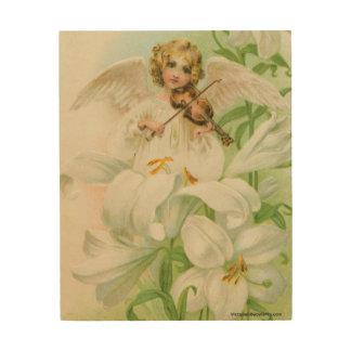 Angel Playing Violin Wood Print