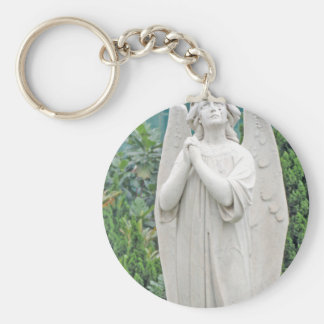 Angel pleading with the sky basic round button keychain