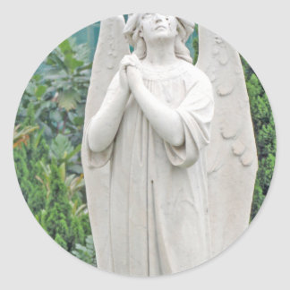 Angel pleading with the sky classic round sticker