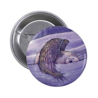 Angel Polar Bear Pinback Button