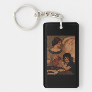 Angel Pouring Hot Chocolate for Child Single-Sided Rectangular Acrylic Keychain