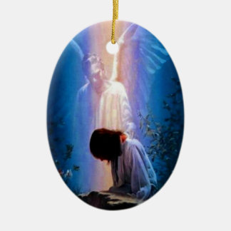 Angel Prayer Double-Sided Oval Ceramic Christmas Ornament
