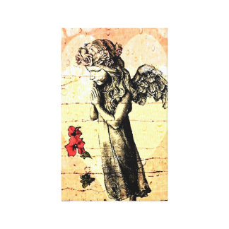 Angel Praying and Heart Canvas