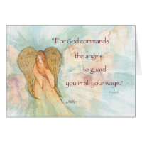 Angel, Psalm 91 Thinking of You, Support Greeting Cards