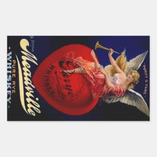 Ángel puro del whisky de Meadville Rye del vintage Rectangular Pegatinas
