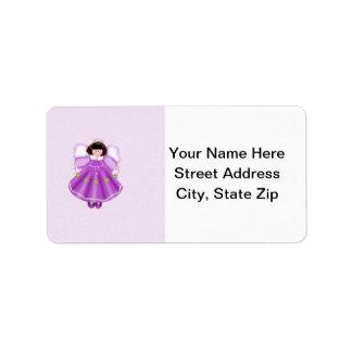 Angel purple personalized address labels