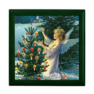 Ángel que adorna el árbol de navidad 2 joyero cuadrado grande