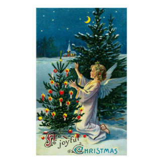 Ángel que adorna el árbol de navidad 2 póster