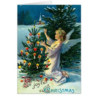 Ángel que adorna el árbol de navidad 2 tarjeta de felicitación