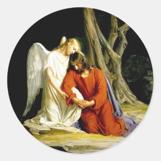 Ángel que conforta a Jesús en jardín Pegatina Redonda