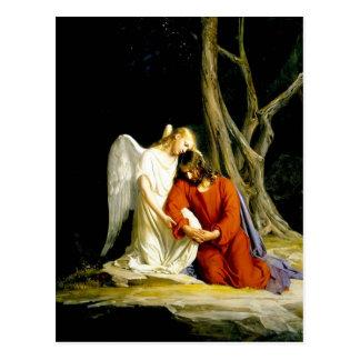Ángel que conforta a Jesús en jardín Postales