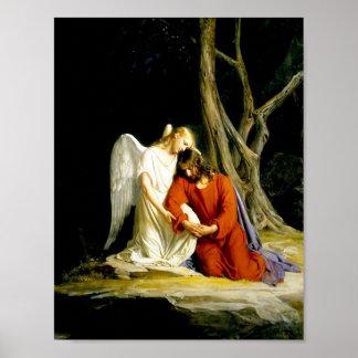 Ángel que conforta a Jesús en jardín Póster