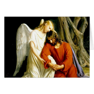 Ángel que conforta a Jesús en jardín Tarjeta De Felicitación