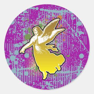 Ángel que da el amor, yello, splas por los pegatina redonda