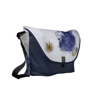 Ángel que desea en una estrella - tinte azul bolsa de mensajería