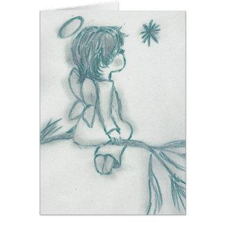 Ángel que desea en una estrella - turquesa tarjeta de felicitación