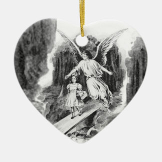 Ángel que guarda a un niño del chica adorno navideño de cerámica en forma de corazón