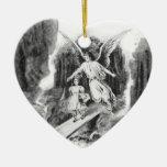 Ángel que guarda a un niño del chica adorno de cerámica en forma de corazón