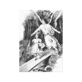Ángel que guarda a un niño del chica impresiones de lienzo