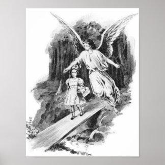 Ángel que guarda a un niño del chica póster