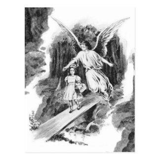 Ángel que guarda a un niño del chica tarjeta postal