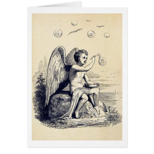 Ángel que hace burbujas de jabón tarjeta