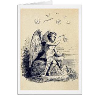 Ángel que hace burbujas de jabón tarjeta de felicitación