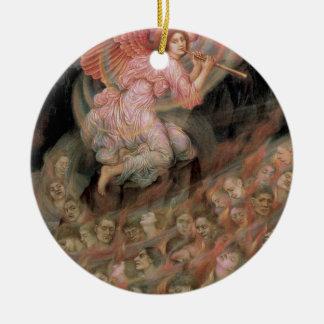 Ángel que instala tubos a las almas en infierno de adorno redondo de cerámica