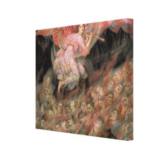 Ángel que instala tubos a las almas en infierno de impresiones en lienzo estiradas