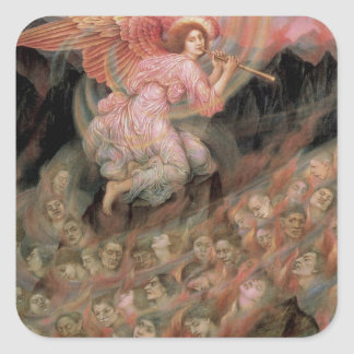 Ángel que instala tubos a las almas en infierno de pegatina cuadrada