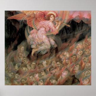 Ángel que instala tubos a las almas en infierno de póster