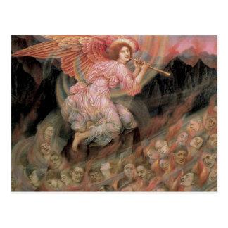 Ángel que instala tubos a las almas en infierno de tarjetas postales