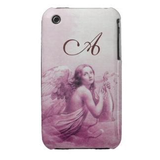 ÁNGEL QUE JUEGA A LYRA SOBRE el monograma rosado iPhone 3 Cobertura