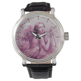 ÁNGEL QUE JUEGA a LYRA SOBRE las piedras preciosas Relojes