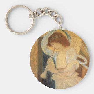 Ángel que juega la chirimia de Burne Jones Llavero Redondo Tipo Pin