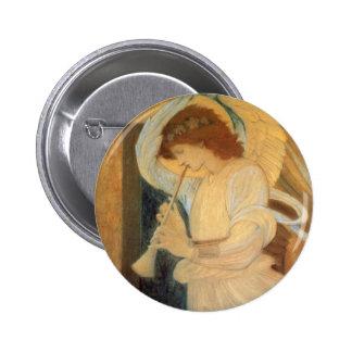 Ángel que juega la chirimia de Burne Jones Pin Redondo 5 Cm