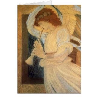 Ángel que juega una chirimia por el navidad de Bur Tarjeta